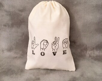 Love - Sign Language - Set of 10 Gift Bags - Custom Weddings - Bridal Showers - Bridesmaid Groomsmen Gift - Hearing Impaired - Party Favors