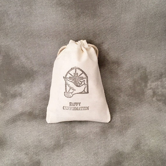 Confirmation Dove - Religious Gifts - Christian Gifts - Catholic Gifts - Rosary Supplies - Confirmation Favors - Set of 10 Cotton Bags