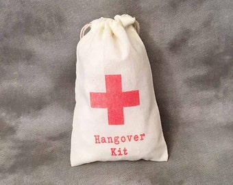 Hangover Kit - Red Cross - Set of 10 - 4x6 - Wedding Party Favors - Bridal Party Gifts - Alcohol Themes - Cotton Drawstring Bags - Organic