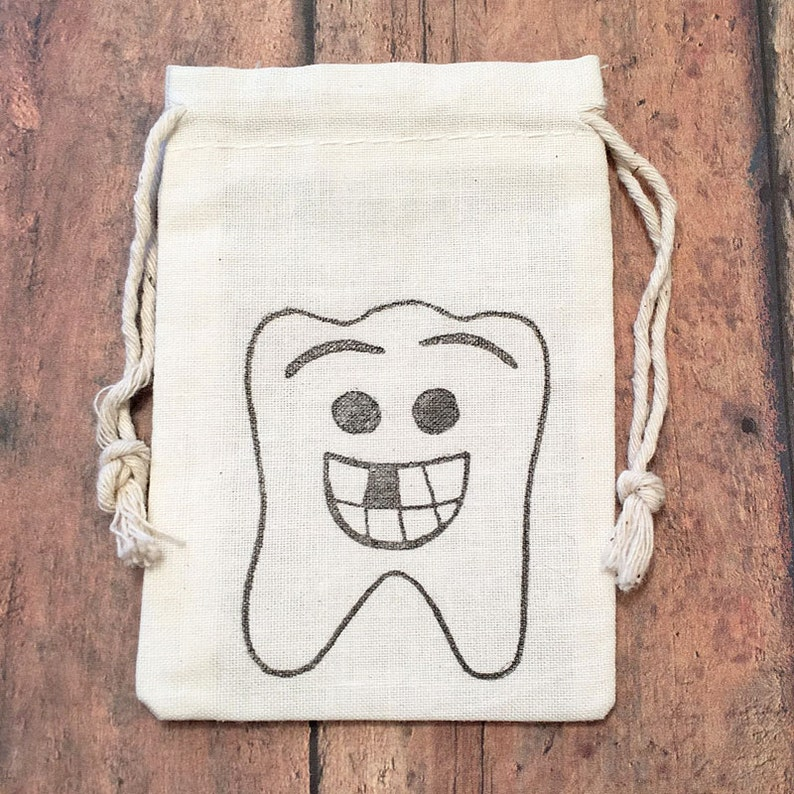 Tooth Fairy Dentist Lost Tooth Birthday Gift Bag Baby Teeth Keepsake My First Tooth Memento Set of 10 Muslin Bag Children Gift