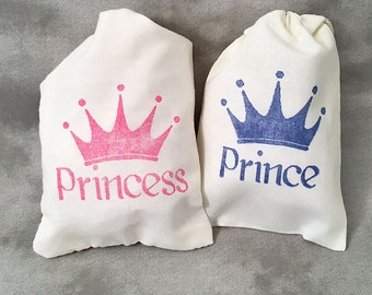 Princess Party Favors - Prince - Christening - Boy Birthday - Girl Birthday - Baby Shower - Quinceanera - Sweet 16 - Set of 10 Cotton Bags