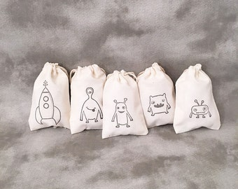 Monster Muslin Bags - Rocket - Aliens - Custom Children Party Bags - Birthday Party Favors - Childrens Gift Bags - Set of 10 Muslin Bags