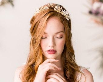 Gold woodland tiara crown - bohemian headpiece - gold bridal rhinestone tiara - style 4010