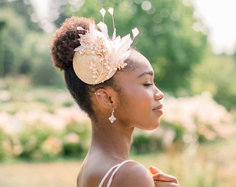 Blush and gold feather fascinator - feather mini hat - style 8011 - ready to ship