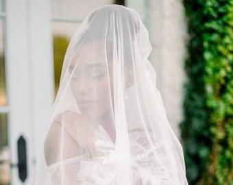 Soft tulle bridal veil with blusher - wedding veil - bridal vail