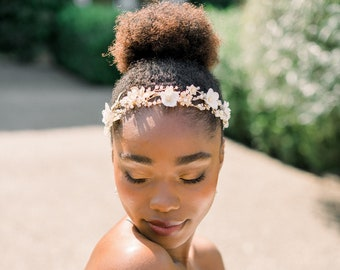 Clay floral hair vine - hair wreath - gold boho headpiece - style 8005 - ready to ship