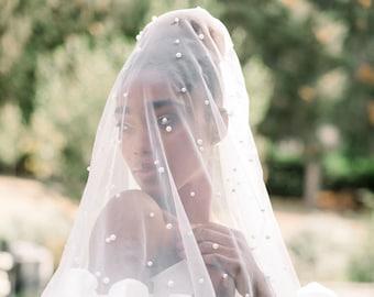 Double layer pearl veil - blusher bridal veil - wedding vail