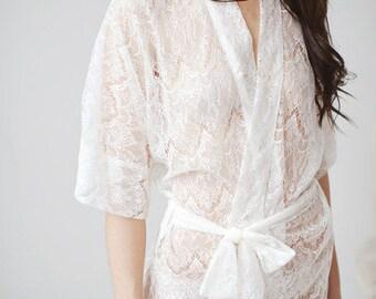 Bridal short lace robe- Priscilla