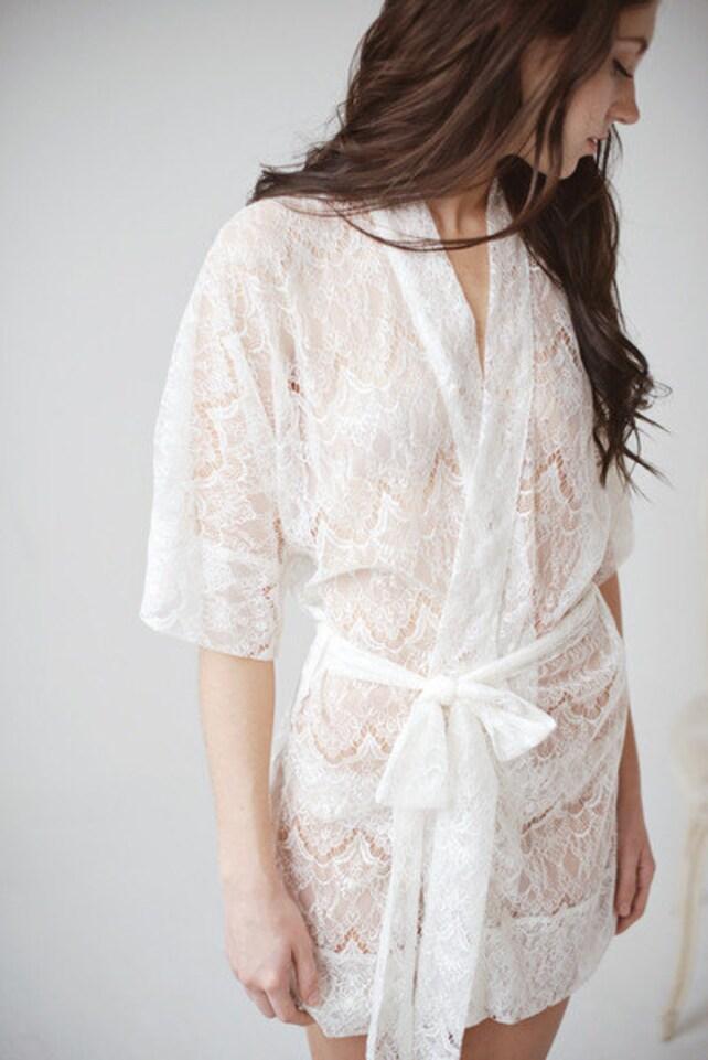Short robe, Lace Robe, sheer robe- ready to ship - Priscilla - FREE SHIPPING*
