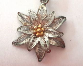 Vintage filegree floral necklace .800 silver and gold vermiel