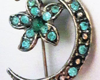 Vintage Sterling Silver Green Rhinestone Pin Brooch Moon and Stars
