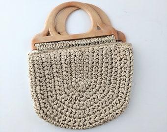 Vintage Woven Handbag, John Wind Handbag, Vintage Ivory Purse