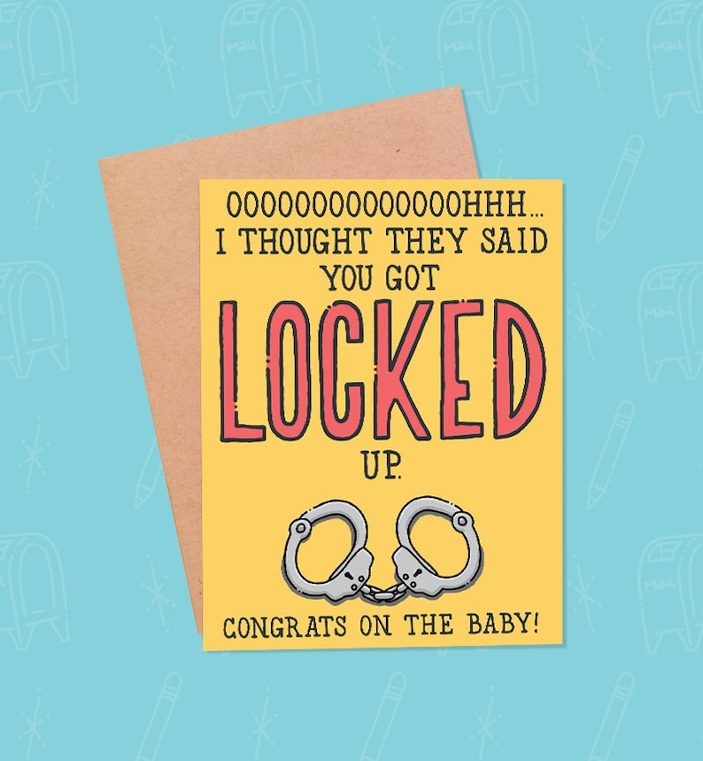 Funny Pregnancy Card  Knocked Up Mom Card  New Baby Card  image 0