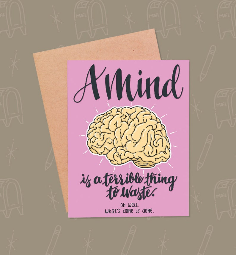 Funny Graduation Card  Funny Encouragement Card  Funny Brain image 0