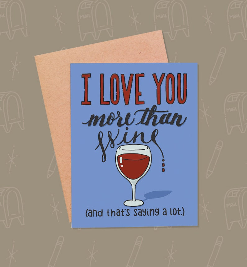 Funny Valentine's Day Card  Funny Wine Card  Funny Wine image 0