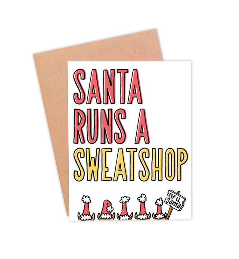 Funny Christmas Card  Funny Holiday Card  Funny Santa Card  image 0
