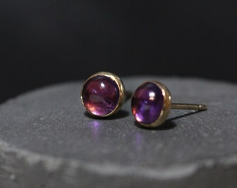 Amethyst Earrings, Amethyst Cabochons, Gold Earrings