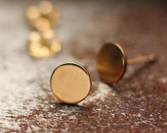 Polka Dot Gold Post Earrings- Free Shipping, gold earrings, gold posts, gold studs, minimalist earrings