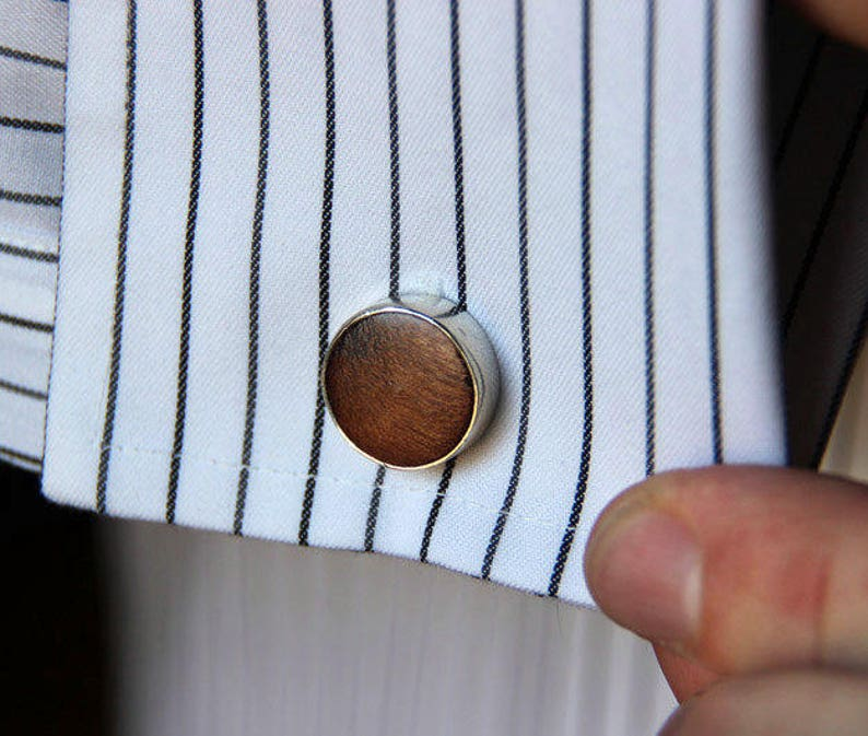 Wood and Sterling Cufflinks Free Shipping image 0