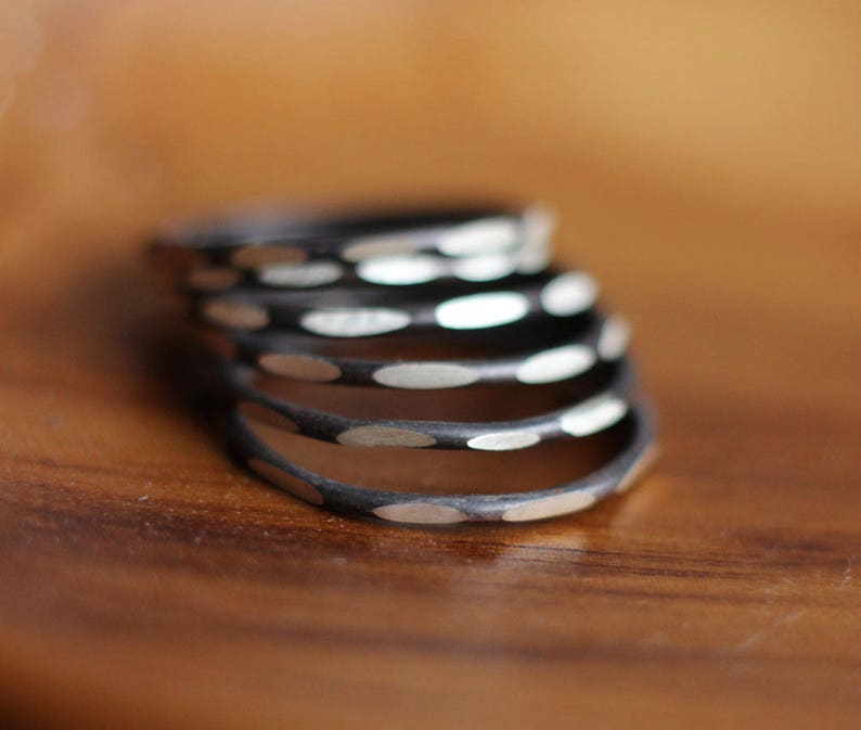Black and White Sterling Silver Stacking Ring-Free Shipping image 0