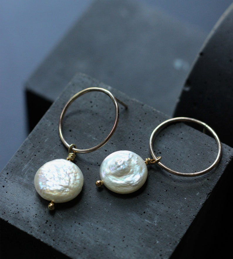 Gold and Pearl dangle earrings Free Shipping image 0