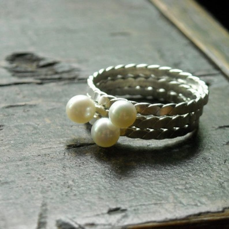 Twisted Pearl and Sterling Stacking Ring Trio Free Shipping image 0
