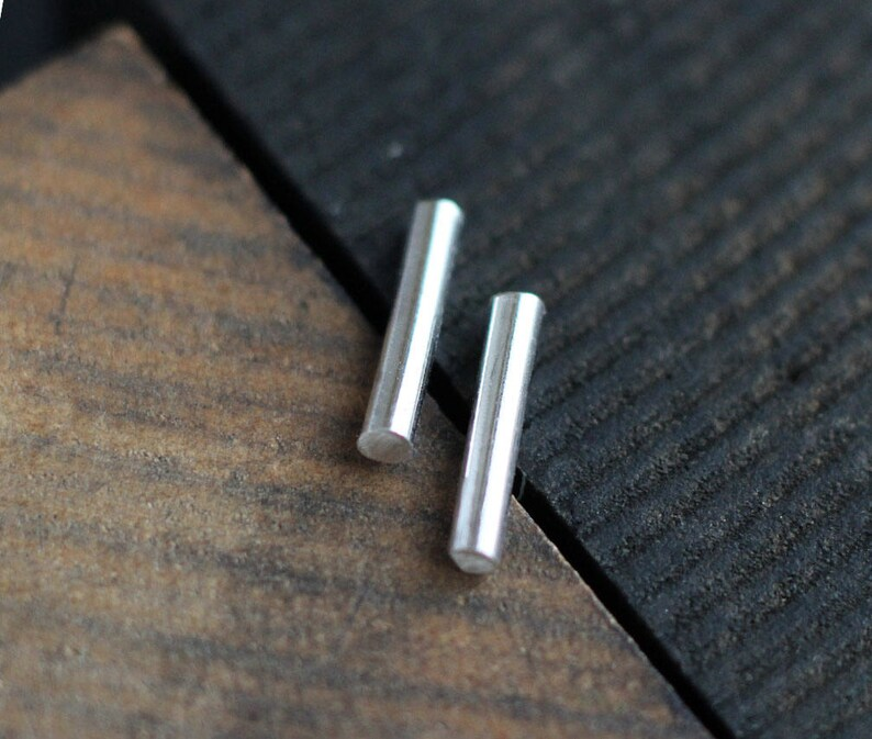 Sterling Silver Bar Earrings Free Shipping silver posts image 0