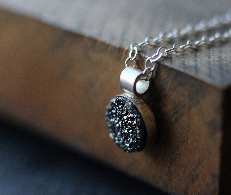 Onyx Druzy Necklace Free Shipping silver necklace black image 0