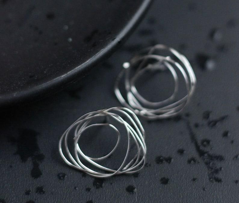 Silver Circle Studs Free Shipping image 0