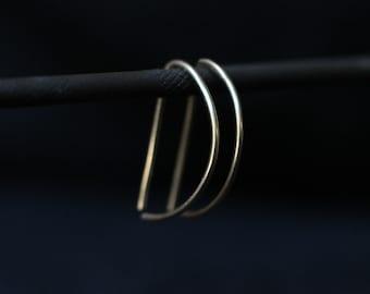 Modern Gold Threader Earrings, Gold Hoops, Minimalist Hoops, Threader Hoops, Modern Hoop Earrings, Half Hoop Earring, Thin Hoop Earring