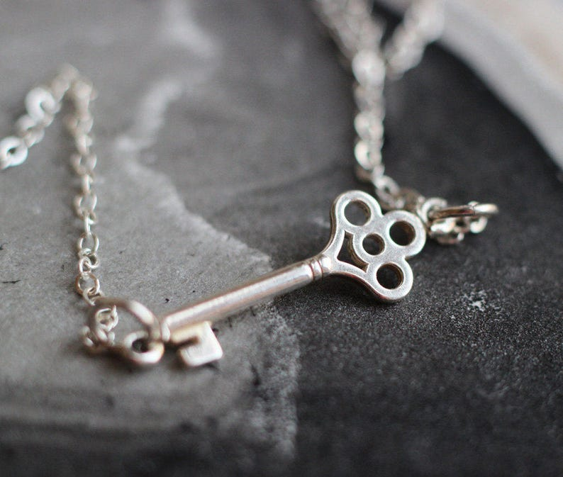 Sterling Key Necklace Free Shipping silver necklace image 0