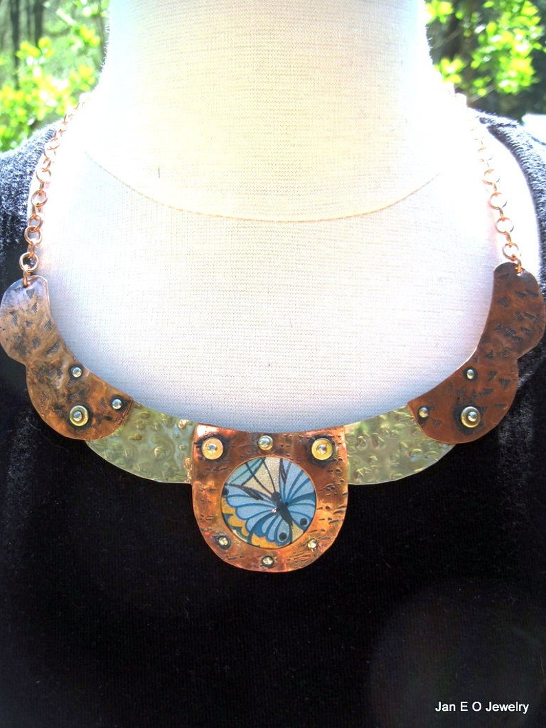 Recycled tin and mixed metal steampunk butterfly  breastplate collar necklace