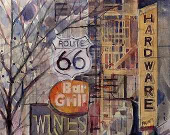 Route 66 Resturant - NYC -  Original Watercolor Painting great for College Dorm or Man Cave