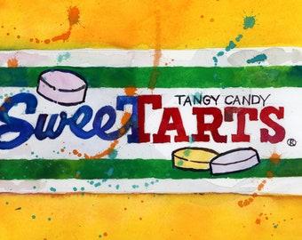 Sweettarts - Yellow Background  - kitchen Decor-  Resturant