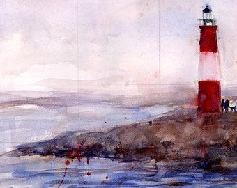Original Print  OR Original Watercolor -  Marblehead, MA Lighthouse Seascape