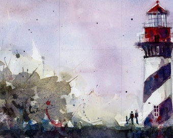 Original Print  OR Original Watercolor -  Lighthouse Seascape