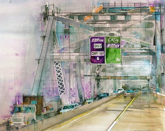 Art Print - Welcome to Staten Island...Staten Island Bridge 8.5 x 11  Watercolor Print