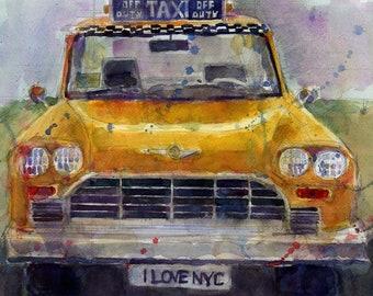Original Print  OR Original Watercolor - Taxi Cab