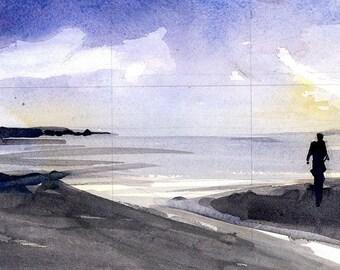 Sunset at the Jersey Shore - Shore house Water - Original Print  OR Original Watercolor