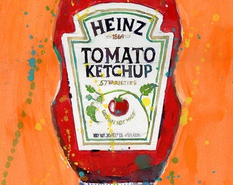 Ketchup - Condiments - Kitchen Art, Resturant decor - Orange BG