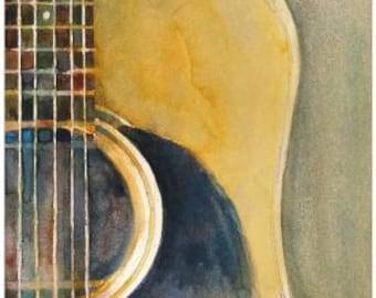 Martin Accoustic Guitar  Print - Music Art Series from Original Watercolors