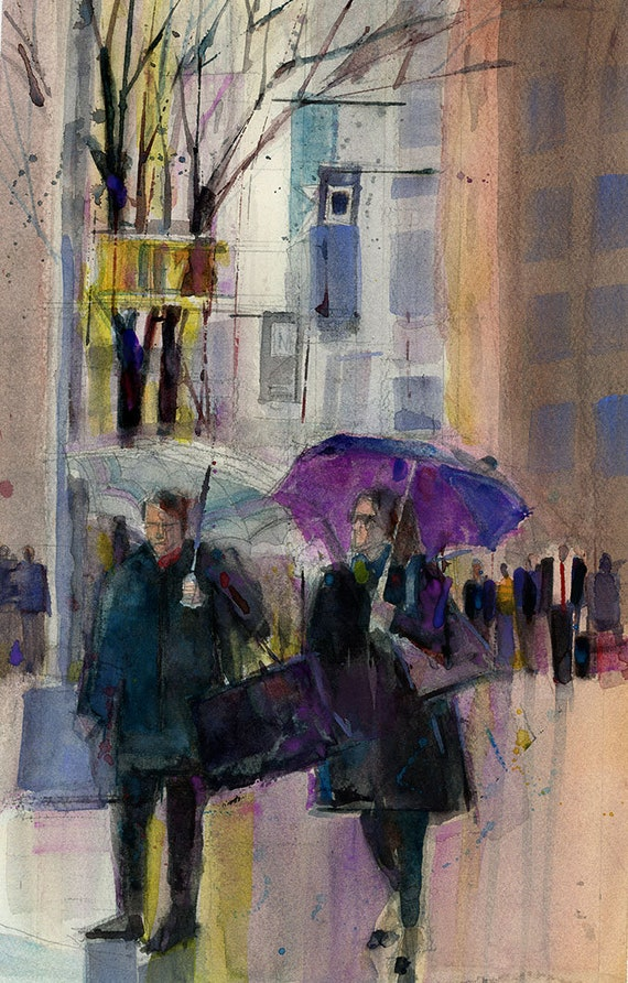 462f1b6c00030 Rainy Day Girls - New York City Original Watercolor PRINT