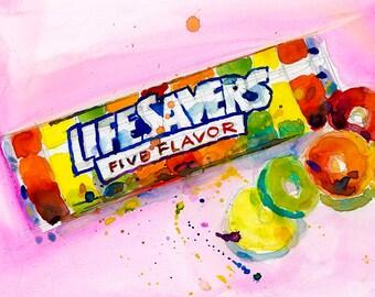 LifeSavers - Pink Background  - kitchen Decor-  Resturant - Vintage Candy Print
