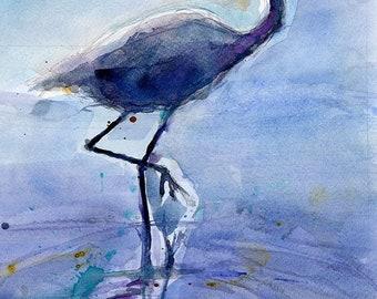 Original Print  OR Original Watercolor - Flamingo - Bird - Florida