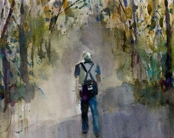 Original Print  OR Original Watercolor - Man  Hiking