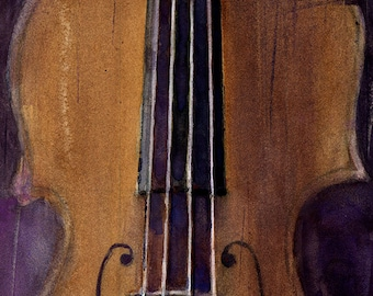 Violin - Watercolor Art Print - Size  8.5 x 11 or 12 x 18