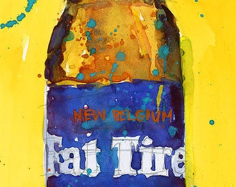 2021_Fat Tire Amber Beer - New Belgium Brewing Art Print Watercolor (Print Size 8.5 x 11) or (Print Size 10 x 20)