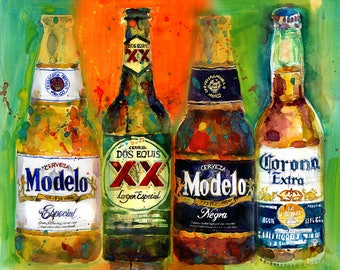 Mexican Beer - Dos Equis - Corona - Modelo Beers Print from Original Watercolor Great for Man Cave