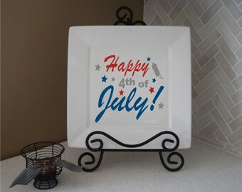 4th of July decal - holiday decal - plate decal - home decal - kitchen vinyl decal - 4th of July - holiday vinyl decal - vinyl wall decal