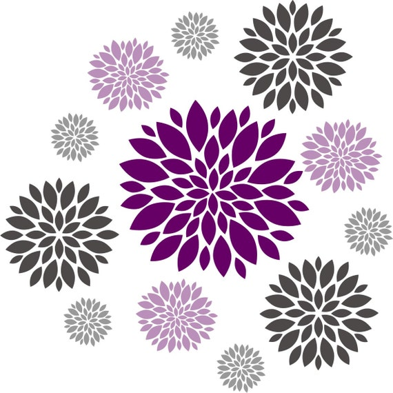 Flower wall decal Set of 12 Flower Wall Decals Dahlia